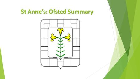 St Anne's: Ofsted Summary. Why is St Anne's in Special Measures?  Achievement is poor. Progress is inconsistent  Some weak teaching observed and over.