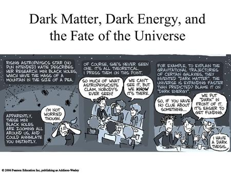 Dark Matter, Dark Energy, and the Fate of the Universe.