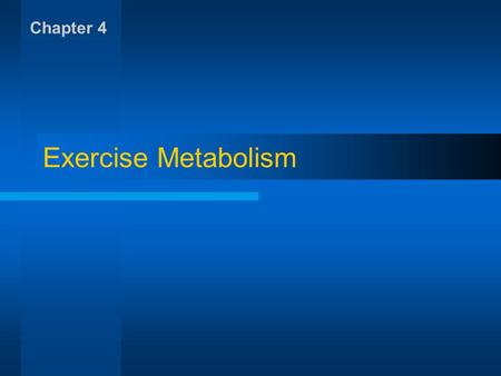 Chapter 4 Exercise Metabolism.