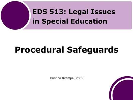 Procedural Safeguards Kristina Krampe, 2005 EDS 513: Legal Issues in Special Education.