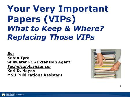 Your Very Important Papers (VIPs) What to Keep & Where? Replacing Those VIPs By: Karen Tyra Stillwater FCS Extension Agent Technical Assistance: Keri D.