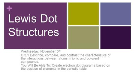 + Lewis Dot Structures Wednesday, November 5 th C.3.1 Describe, compare, and contrast the characteristics of the interactions between atoms in ionic and.