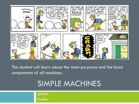 SIMPLE MACHINES SPH4C Findlay The student will learn about the main purposes and the basic components of all machines.