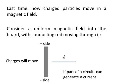 Last time: how charged particles move in a magnetic field
