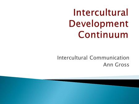 Intercultural Communication Ann Gross.  Grounded theory (evidence based), used to explain predictable stages people go through, based on their intercultural.