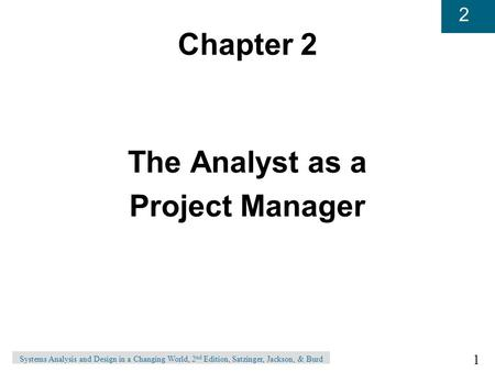 Chapter 2 The Analyst as a Project Manager
