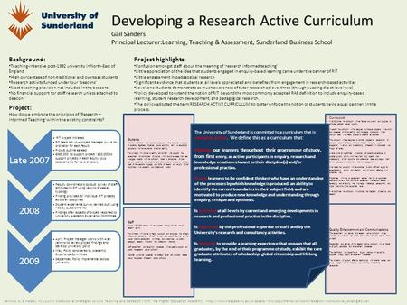 Quality Enhancement and Communications The development and delivery of a research active curriculum will be promoted as a core and high quality activity.
