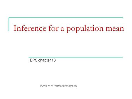 Inference for a population mean BPS chapter 18 © 2006 W. H. Freeman and Company.