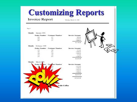 Customizing Reports. Custom Reports A report is a formatted hardcopy of the contents of one or more tables from a database. Although you can format and.