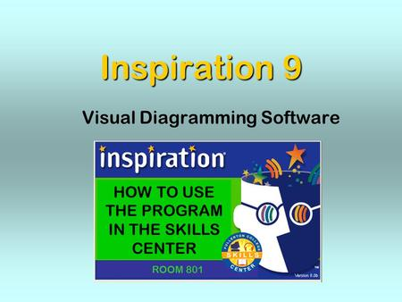 Inspiration 9 Visual Diagramming Software HOW TO USE THE PROGRAM IN THE SKILLS CENTER ROOM 801.