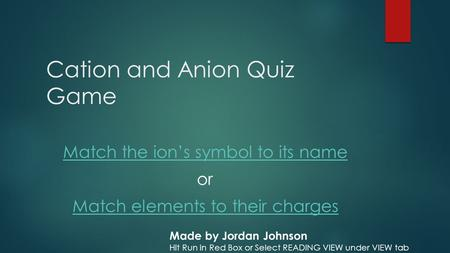 Cation and Anion Quiz Game