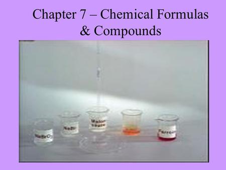 Chapter 7 – Chemical Formulas & Compounds. I. Chemical Names and Formulas All natural and synthetic substances have chemical names, however, most substances.