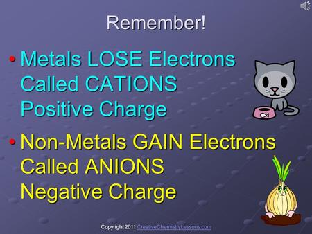 Copyright 2011 CreativeChemistryLessons.comCreativeChemistryLessons.comRemember! Metals LOSE Electrons Called CATIONS Positive ChargeMetals LOSE Electrons.