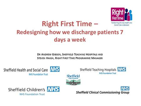 Right First Time – Redesigning how we discharge patients 7 days a week D R A NDREW G IBSON, S HEFFIELD T EACHING H OSPITALS AND S TEVEN H AIGH, R IGHT.