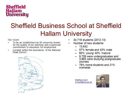 Sheffield Business School at Sheffield Hallam University Our vision: To be an established top 50 university known for the quality of our teaching with.