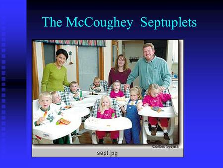 The McCoughey Septuplets. Infertility 101 Definitions Under 35 yoNo conception after one year of unprotected intercourse Over 35 yoNo conception after.