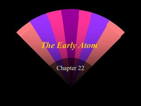 The Early Atom Chapter 22. Journey in the microscopic world w Division of matter: can it be done indefinitely? w What are the basic constituents of matter?