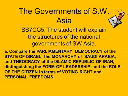 The Governments of S.W. Asia
