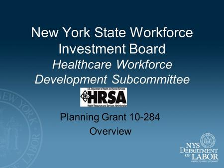 New York State Workforce Investment Board Healthcare Workforce Development Subcommittee Planning Grant 10-284 Overview.