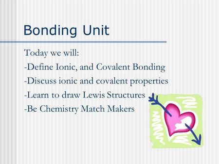 Bonding Unit Today we will: -Define Ionic, and Covalent Bonding -Discuss ionic and covalent properties -Learn to draw Lewis Structures -Be Chemistry Match.