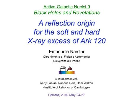 A reflection origin for the soft and hard X-ray excess of Ark 120 Ferrara, 2010 May 24-27 in collaboration with: Andy Fabian, Rubens Reis, Dom Walton (Institute.