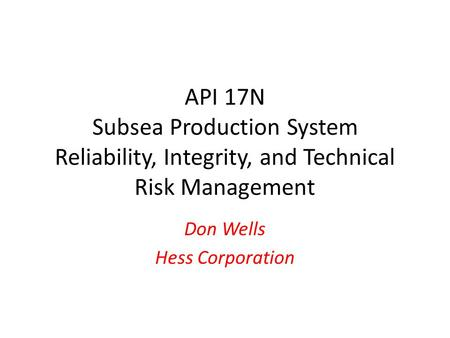 Don Wells Hess Corporation