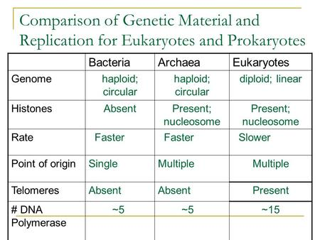 Comparison of Genetic Material and Replication for Eukaryotes and Prokaryotes BacteriaArchaeaEukaryotes Genomehaploid; circular diploid; linear HistonesAbsentPresent;