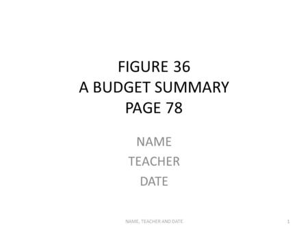 FIGURE 36 A BUDGET SUMMARY PAGE 78 NAME TEACHER DATE NAME, TEACHER AND DATE1.