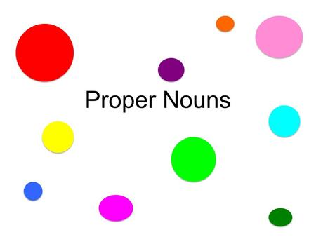 Proper Nouns A Proper Noun NAMES a person, place, or thing.