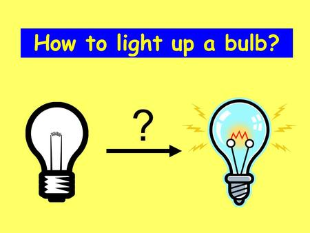How to light up a bulb? ?. Electricity Wire Battery Bulb Electricity can produce light.