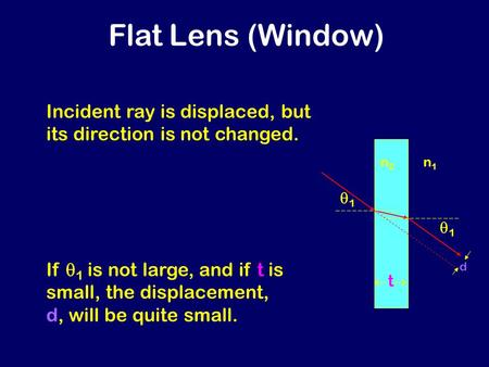 Flat Lens (Window) n1n1 n2n2 Incident ray is displaced, but its direction is not changed. tt 11 11 If  1 is not large, and if t is small, the.