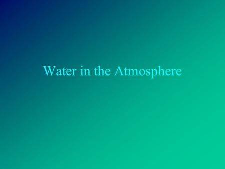 Water in the Atmosphere. Humidity Humidity is a measure of the amount of water vapor in the air. Air's ability to hold water vapor depends on its temperature.