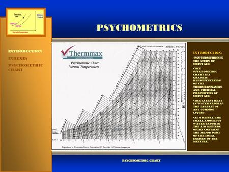 PSYCHOMETRICS INTRODUCTION INDEXES PSYCHOMETRIC CHART INTRODUCTION: