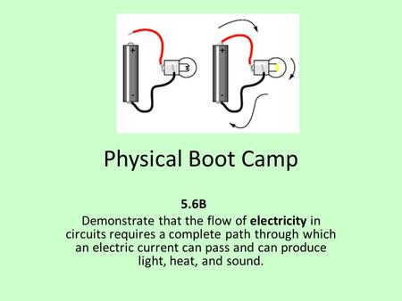 Physical Boot Camp 5.6B Demonstrate that the flow of electricity in circuits requires a complete path through which an electric current can pass and can.