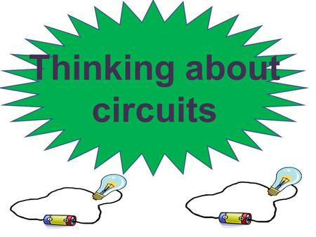 Thinking about circuits. In a circuit we can connect a battery, some wires and a bulb or a buzzer. Electricity will flow from the battery around the circuit.