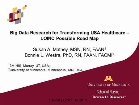 Big Data Research for Transforming USA Healthcare – LOINC Possible Road Map Susan A. Matney, MSN, RN, FAAN1 Bonnie L. Westra, PhD, RN, FAAN, FACMI2 13M.