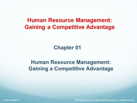 Human Resource Management: Gaining a Competitive Advantage
