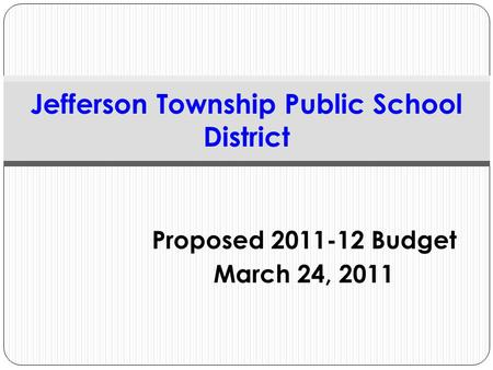 Proposed 2011-12 Budget March 24, 2011 Jefferson Township Public School District.