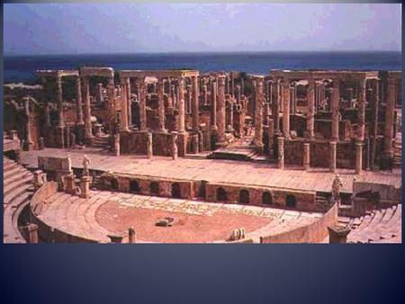 i) In what Roman settlement was the theatre shown constructed? ii) In what part of the Roman empire was this settlement located? [ACH] (i) Leptis Magna.