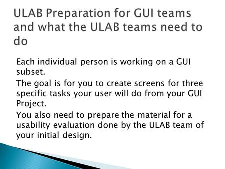 Each individual person is working on a GUI subset. The goal is for you to create screens for three specific tasks your user will do from your GUI Project.