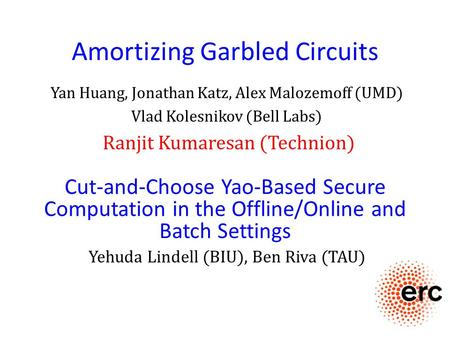Amortizing Garbled Circuits Yan Huang, Jonathan Katz, Alex Malozemoff (UMD) Vlad Kolesnikov (Bell Labs) Ranjit Kumaresan (Technion) Cut-and-Choose Yao-Based.