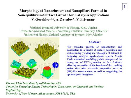 Morphology of Nanoclusters and Nanopillars Formed in Nonequilibrium Surface Growth for Catalysis Applications V. Gorshkov 1,2, A. Zavalov 3, V. Privman.