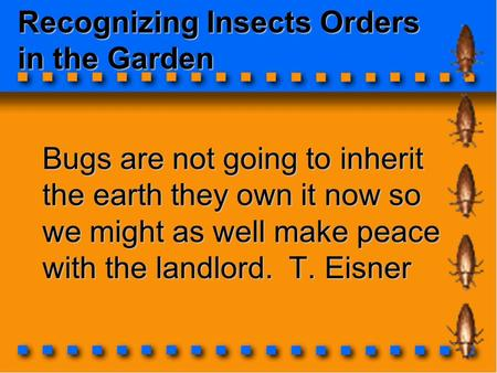 Recognizing Insects Orders in the Garden Bugs are not going to inherit the earth they own it now so we might as well make peace with the landlord. T. Eisner.