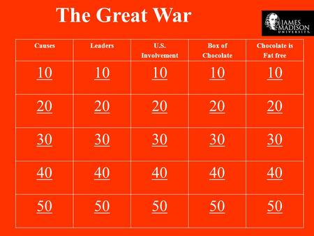 The Great War CausesLeadersU.S. Involvement Box of Chocolate Chocolate is Fat free 10 20 30 40 50.