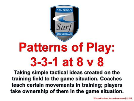 WayneHarrison SoccerAwareness (c)2013. The following presentation is designed to simplify all the potential Patterns of Play of young players at 8 v 8.