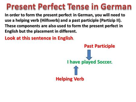 In order to form the present perfect in German, you will need to use a helping verb (Hilfsverb) and a past participle (Partizip II). These components are.