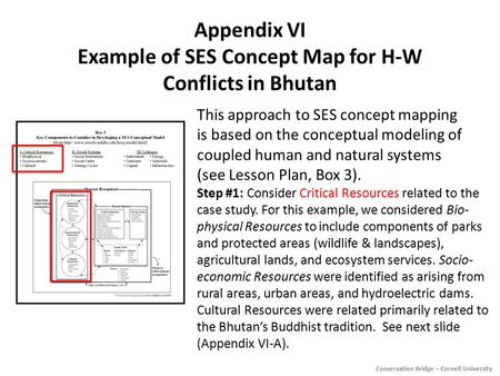 Appendix VI Example <strong>of</strong> SES Concept Map for H-W Conflicts in Bhutan This approach to SES concept mapping is based on the conceptual modeling <strong>of</strong> coupled.