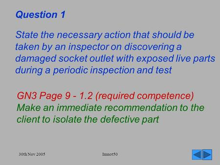 30th Nov 2005Imnot50 Question 1 State the necessary action that should be taken by an inspector on discovering a damaged socket outlet with exposed live.