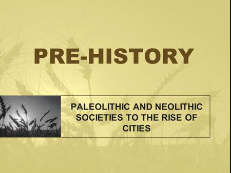 PRE-HISTORY PALEOLITHIC AND NEOLITHIC SOCIETIES TO THE RISE OF CITIES.