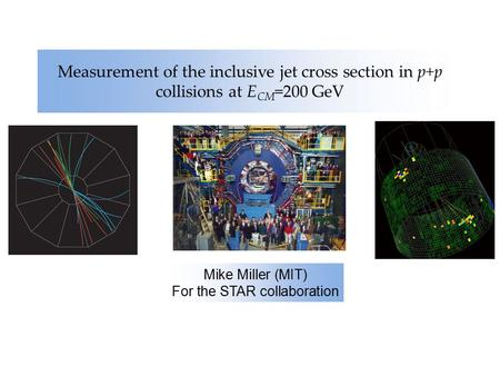 Measurement of the inclusive jet cross section in p+p collisions at E CM =200 GeV Mike Miller (MIT) For the STAR collaboration.